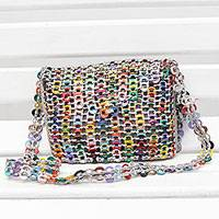 Recycled soda pop-top sling bag, 'City Streets' - Recycled Multicolor Aluminum Soda Pop-Top Sling Bag