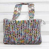Recycled soda pop-top shoulder bag, 'Lively Lady' - Recycled Multicolor Aluminum Soda Pop-Top Shoulder Bag