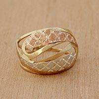 Tri-color gold cocktail ring, 'Diamond Waves' - Wavy Tricolor 10k Gold Cocktail Ring from Brazil