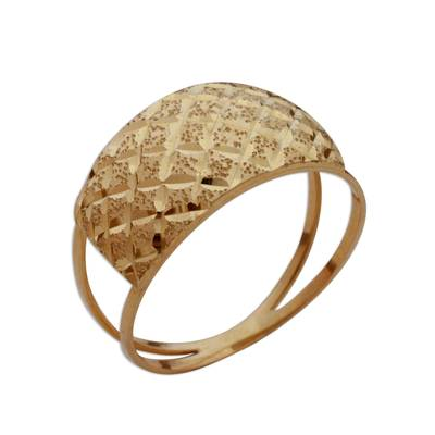 Diamond Motif 10k Gold Cocktail Ring from Brazil