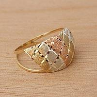 Gold cocktail ring, 'Tricolor Diamonds' - Tricolor 14k Gold Cocktail Ring from Brazil