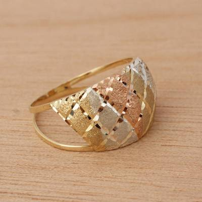 Gold cocktail ring, 'Tricolor Diamonds' - Tricolor 10k Gold Cocktail Ring from Brazil