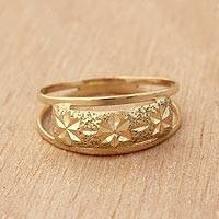 Gold band ring, 'Starry Glisten' - Star Motif 10k Gold Band Ring from Brazil