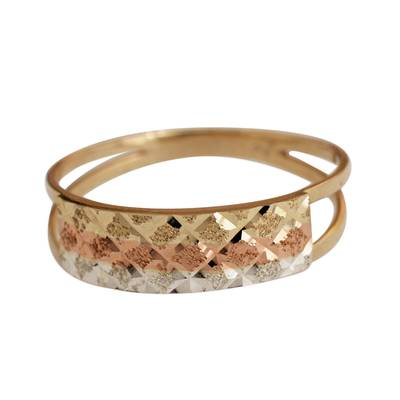 Tricolor Diamond Motif Gold Band Ring from Brazil