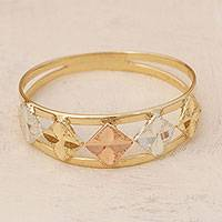Gold band ring, 'Five Stars' - Square Motif 14k Gold Band Ring from Brazil