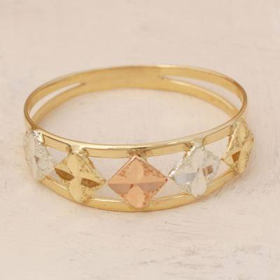 Tri-color gold band ring, 'Five Stars' - Square Motif 10k Gold Band Ring from Brazil