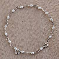 Cultured pearl link bracelet, 'Snowdrops' - Cultured Pearl and Sterling Silver Link Bracelet