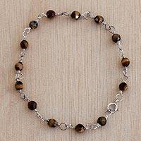 Tiger's eye link bracelet, 'Tiger Garland' - Tiger's Eye and Sterling Silver Link Bracelet