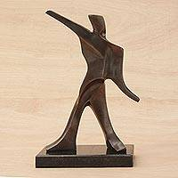 Bronze sculpture, 'Pitcher' - Hand Crafted Bronze Contemporary Sculpture of a Pitcher