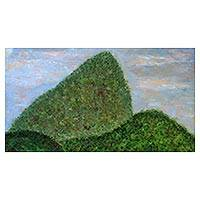 'Sugarloaf Hill' - Signed Impressionist Painting of Sugarloaf Hill from Brazil