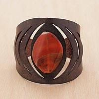 Agate wristband bracelet, 'Orange Eye' - Brazilian Agate and Leather Wristband Bracelet in Orange