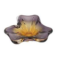 Art glass centerpiece, 'Open Blossom' - Amber and Lilac Flower Shaped Hand Blown Glass Centerpiece
