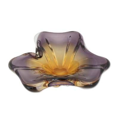 Amber and Lilac Flower Shaped Hand Blown Glass Centerpiece