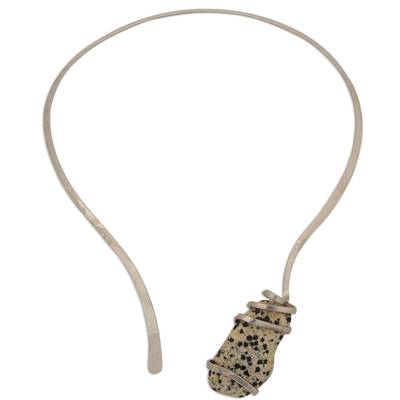 Dalmatian Jasper and Stainless Steel Collar Necklace