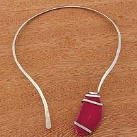 Agate collar necklace, 'Sunrise's Magnitude' - Pink Agate and Stainless Steel Collar Necklace