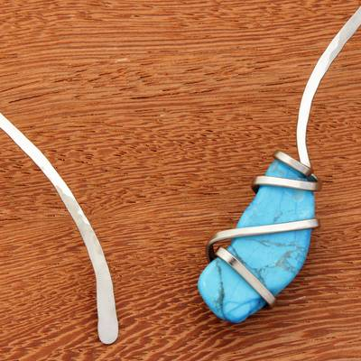 Howlite collar necklace, 'Afternoon Sky's Magnitude' - Blue Howlite and Stainless Steel Collar Necklace