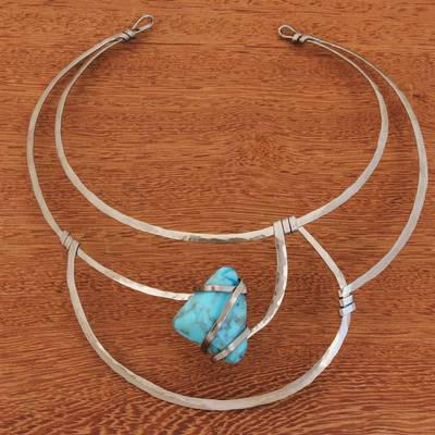 Howlite collar necklace, 'Queen's Sea' - Blue Howlite and Stainless Steel Collar Necklace