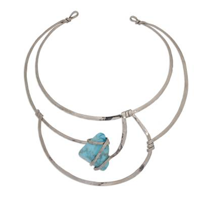 Blue Howlite and Stainless Steel Collar Necklace