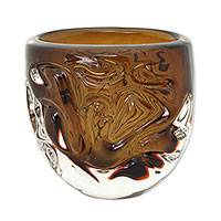 Art glass centerpiece, 'Mesmerizing Waves' - Brazilian Hand Blown Brown Decorative Art Glass Centerpiece
