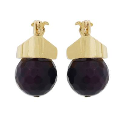 Red Agate Drop Earrings Bathed in 18k Gold from Brazil