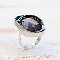 Smoky quartz cocktail ring, 'Exotic Grace' - Silver and Smoky Quartz Cocktail Ring from Brazil