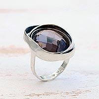 Smoky quartz cocktail ring,