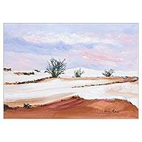 'Dunes of Cabo Frio' - Original Brazilian Beach Scene Painting in Pastel Colors
