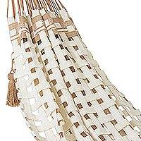 Cotton hammock, 'Comfort Weave' (double) - Handwoven Double Cotton Rope Hammock from Brazil