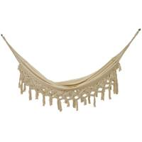 Cotton blend hammock, 'Natural Ubatuba' (single) - Handwoven Single Cotton Blend Hammock from Brazil