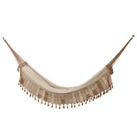 Cotton hammock, 'Island Stripes' (double) - Handwoven Double Cotton Hammock in Ivory from Brazil