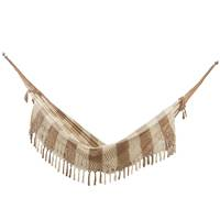Cotton hammock, 'Love Game' (double) - Double Cotton Hammock in Alabaster and Brown from Brazil