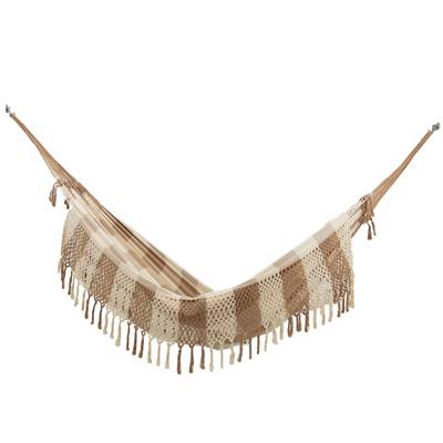 Double Cotton Hammock in Alabaster and Brown from Brazil