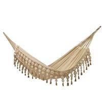 Cotton hammock, 'Tropical Style' (double) - Handwoven Double Cotton Hammock in Ivory from Brazil