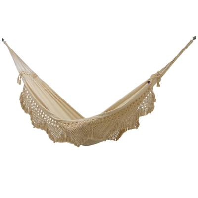 Handwoven Solid Double Cotton Blend Hammock from Brazil