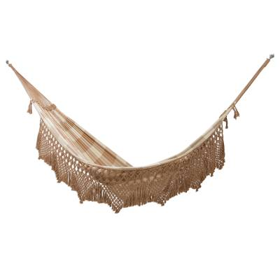 Handwoven Checked Double Cotton Hammock from Brazil