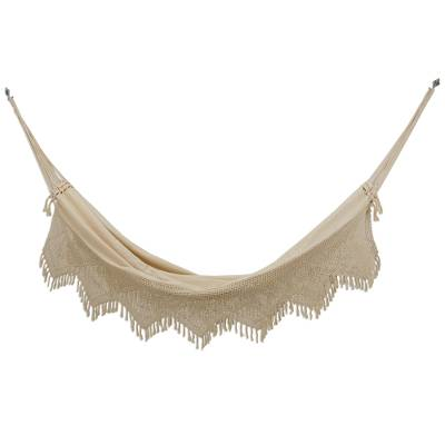 Handwoven Double Cotton Hammock in Alabaster from Brazil