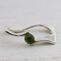 Tourmaline single stone ring, 'Green World' - Green Tourmaline Single Stone Ring from Brazil
