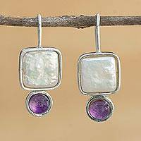Amethyst and cultured Biwa pearl drop earrings, 'Grandeur' - Amethyst and Cultured Pearl Drop Earrings from Brazil