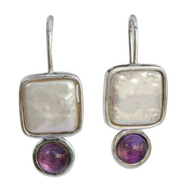 Amethyst and Cultured Pearl Drop Earrings from Brazil