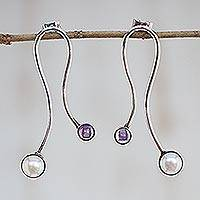 Amethyst and cultured pearl drop earrings, 'Effortless Allure' - Amethyst and Cultured Pearl Drop Earrings from Brazil