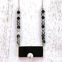 Agate and cultured pearl pendant necklace, 'Bold Impression' - Handcrafted Agate and Cultured Pearl Pendant Necklace