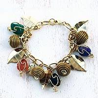 Gold-plated golden grass and agate charm bracelet, 'In Luck' - Gold Plated Charm Bracelet with Agates and Golden Grass
