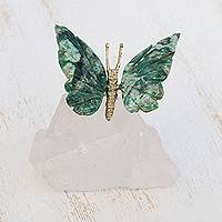 Quartz and serpentinite figurine, 'Gentle Repose' - Serpentinite Butterfly Figurine on Quartz Mountain Peak Base