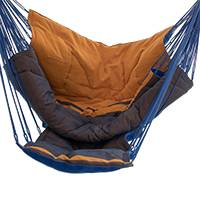 Cotton hammock swing chair, 'Nice Day' (single) - Handmade Cotton Hammock Swing from Brazil (Single)