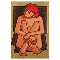 'Nude' - Original Signed Cubist Style Painting of a Young Nude Woman