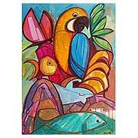 'Macaw' - Icons of Brazil Tropical Images Original Cubist Painting