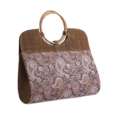 Paisley Motif Palm Leaf Handle Handbag from Brazil