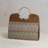 Palm leaf handle handbag, 'Aurora Waves' - Palm Leaf Multicolored Handle Handbag from Brazil