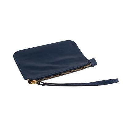 Handmade Navy Leather Wristlet from Brazil