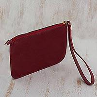 Leather wristlet, 'Trendy Fashion in Cherry' - Handmade Cherry Leather Wristlet from Brazil